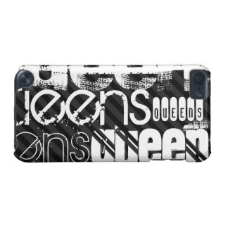 Queens; Black & Dark Gray Stripes iPod Touch 5G Cover