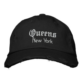 queens bold embroidered baseball cap