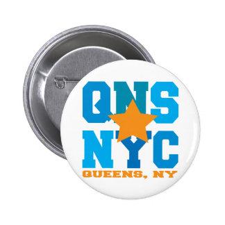 Queens botón del azul de NY Pin