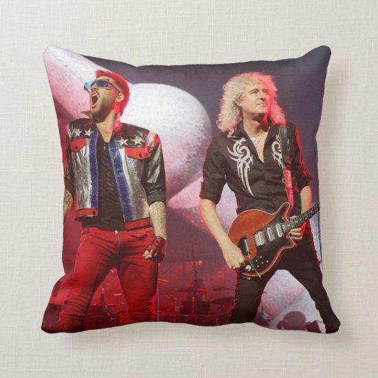 Queen's Brian May & Adam Lambert   San Jose, CA Throw Pillow
