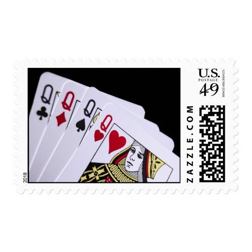 Queens cuatro de una clase sello postal