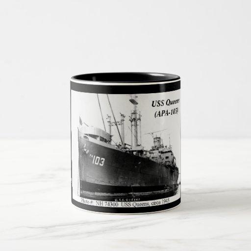 Queens de USS (APA-103) Tazas De Café