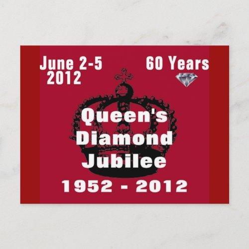 Queens Diamond Jubilee 1952-2012 Postcard postcards