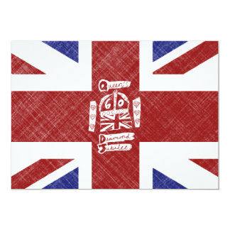 Queen's Diamond Jubilee 2012 Emblem & Flag 5x7 Paper Invitation Card