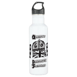 Queens Diamond Jubilee 2012 Greyscale Emblem Water Bottle
