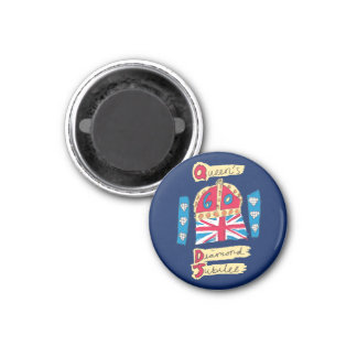 Queen's Diamond Jubilee 2012 Official Color Emblem 1 Inch Round Magnet