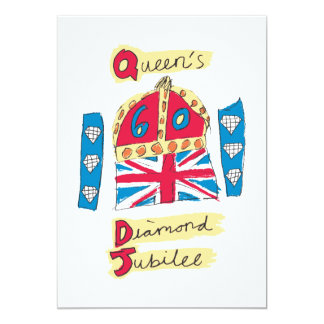 Queen's Diamond Jubilee 2012 Official Color Emblem 5x7 Paper Invitation Card