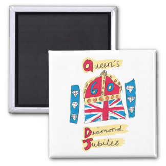 Queen's Diamond Jubilee 2012 Official Color Emblem 2 Inch Square Magnet