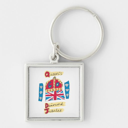Queen's Diamond Jubilee 2012 Official Color Emblem Silver-Colored Square Keychain