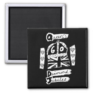 Queen's Diamond Jubilee 2012 Official White Emblem 2 Inch Square Magnet