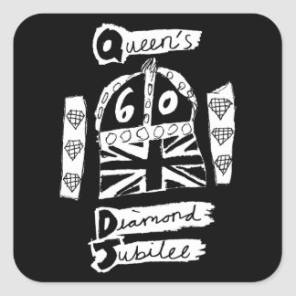 Queen's Diamond Jubilee 2012 Official White Emblem Square Sticker