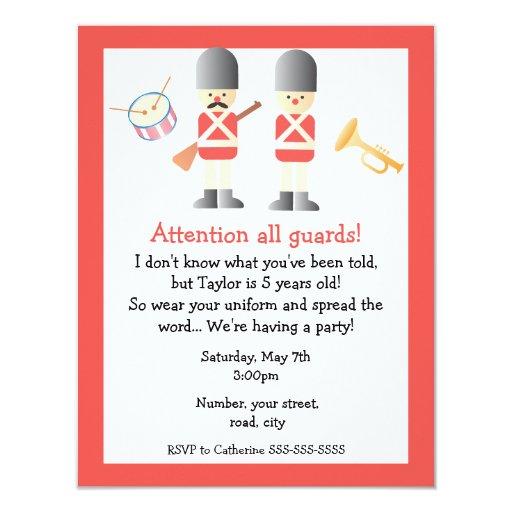 """Queen's Guard Birthday Party Invitation 4.25"""" X 5.5"""" Invitation Card"""