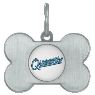 Queens in cyan pet name tags