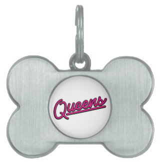 Queens in magenta pet ID tags