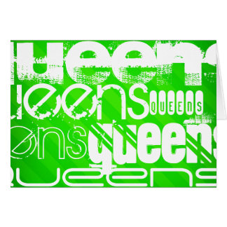 Queens; Neon Green Stripes Note Card