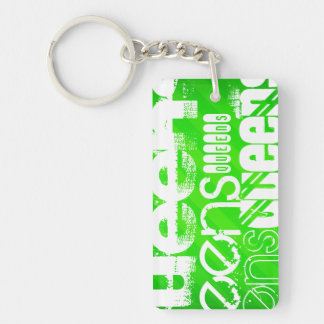 Queens; Neon Green Stripes Double-Sided Rectangular Acrylic Keychain