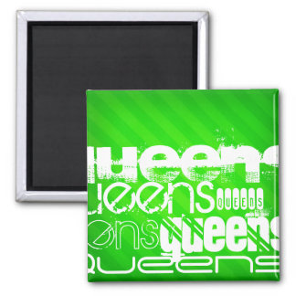 Queens; Neon Green Stripes 2 Inch Square Magnet