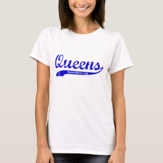Queens, New York City NYC - Blue Lettering T-Shirt