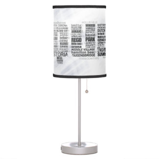 Queens New York NY Typographic Table Lamp