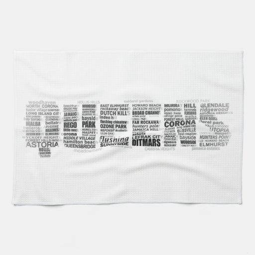 Queens New York Typography Kitchen Towel