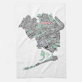 Queens, New York Typography Map Tea Towel