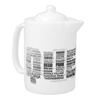 Queens New York Typography Teapot