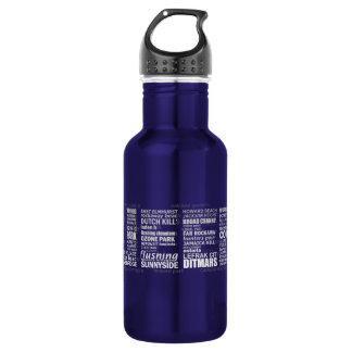 Queens New York Typography Water Bottle