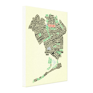 Queens NY Typography Map Art Canvas Print