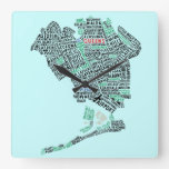 Queens NY Typography Map Art Wall Clock