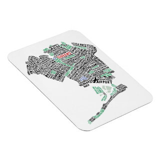 Queens NY Typography Map Flexi Magnet
