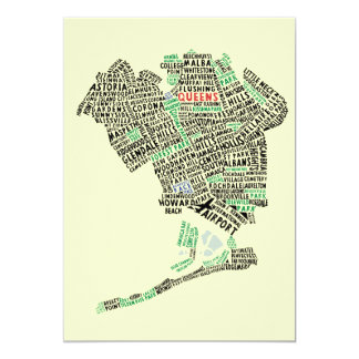 Queens NY Typography Map Party Invitations