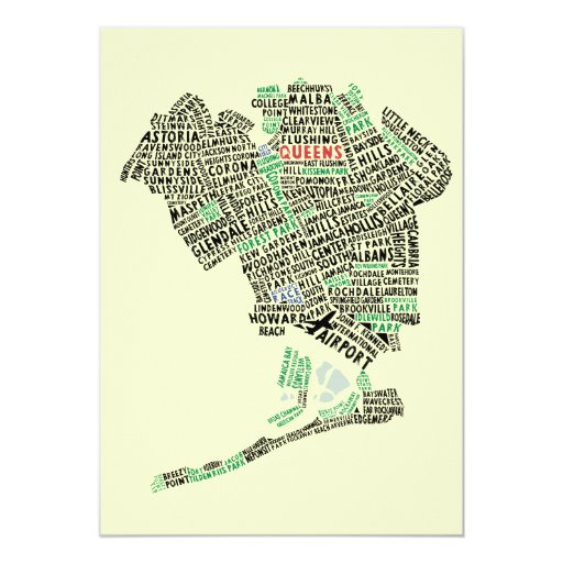 """Queens NY Typography Map Party Invitations 5"""" X 7"""" Invitation Card"""