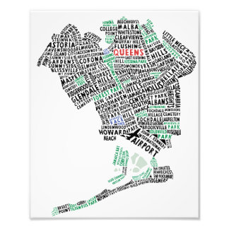 Queens NY Typography Map Photo Print