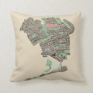 Queens NY Typography Map Pillow