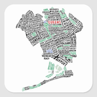 Queens NY Typography Map Stickers Square Sticker