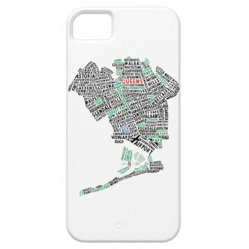 Queens NYC Typography Map Cell Phone Case iPhone 5 Cases