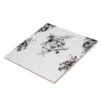 Queen's Rabbit - Vintage Alice Swirls Collection Ceramic Tile