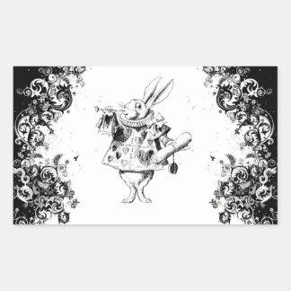 Queen's Rabbit - Vintage Alice Swirls Collection Rectangular Sticker
