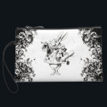 """Queen&#39;s Rabbit - Vintage Alice Swirls Collection Wristlet Wallet<br><div class=""""desc"""">Queen&#39;s Rabbit - Vintage Lewis Carroll&#39;s Alice&#39;s Adventures in Wonderland B&amp;W Swirls Collection - Easy to personalize and available on hundreds of high quality gifts,  clothing,  home decor items and more.</div>"""