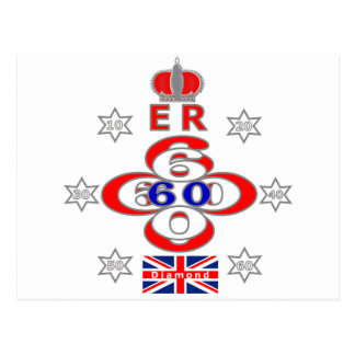 Queens Royal Jubilee stars design Postcard