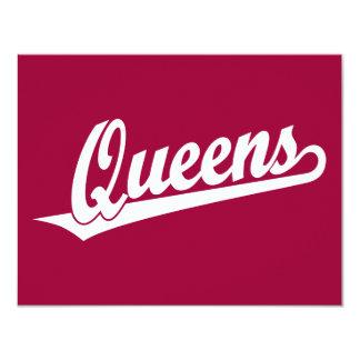 Queens script logo in white card