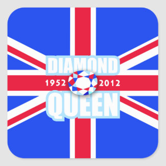 Queens Sixtieth Diamond Jubilee Union Jack Flag Square Sticker