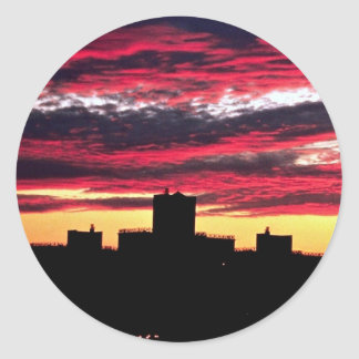 Queens sunset, New York, U.S.A. Round Sticker