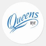 Queens, tarjetas de Nueva York Pegatinas Redondas