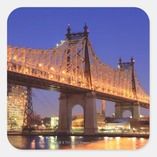 Queensboro Bridge and the East River Square Sticker