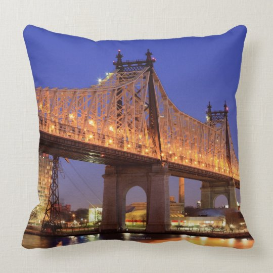 Queensboro Bridge and the East River Throw Pillow