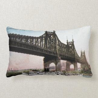 Queensboro Bridge New York Vintage Post Card Lumbar Pillow