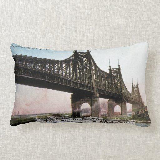 Queensboro Bridge New York Vintage Post Card Throw Pillows