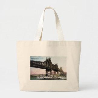 Queensboro Bridge to New York City Canvas Bags