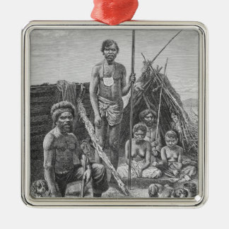 Queensland aborigines engraved from a photograph square metal christmas ornament